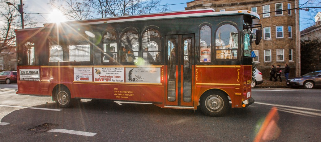 Enjoy transporation around town courtesy of the Salem Trolley.